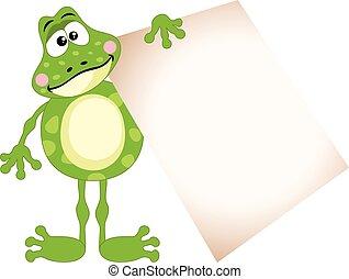mignon, vide, tenue, grenouille, signe