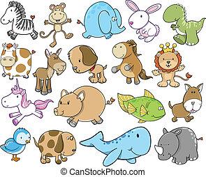 mignon, vie sauvage, ensemble, animal, safari