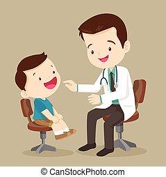 mignon, voir, garçon, docteur