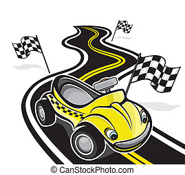 mignon, voiture course