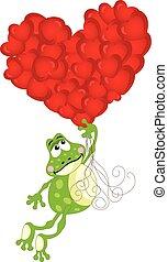mignon, voler, ballons, grenouille, coeur