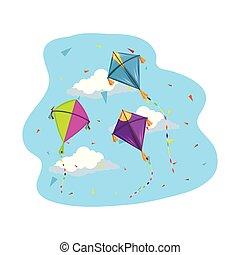 mignon, voler, ciel, cerfs volants