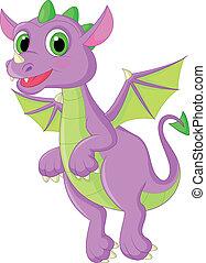 mignon, voler, dessin animé, dragon