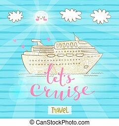mignon, voyage, concept, vacances, lune miel, travel., illustration, ship., vecteur, croisière, voyage, carte