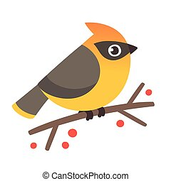mignon, waxwing, illustration