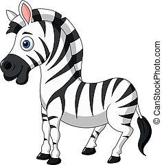 mignon, zebra, dessin animé