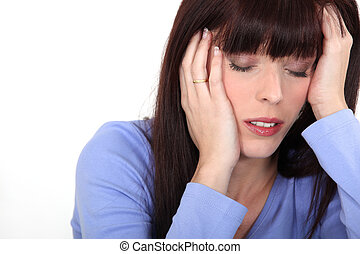 migräne, frau, junger, haben