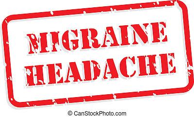 migraña, caucho, dolor de cabeza, estampilla