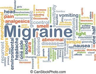 Migraine background concept - Background concept wordcloud...