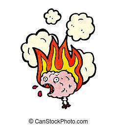 migraine, cerveau, dessin animé