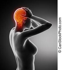 migraine, concept, mal tête