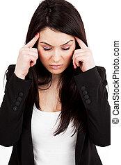 migraine, concept, ou, mal tête