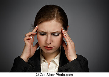 migraine, femme affaires, fort
