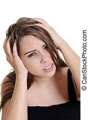 migraine, femme, mal tête