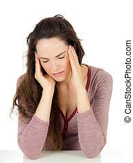 migraine, femme, séduisant, jeune