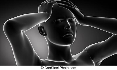 Migraine head pian concept with pulsating pain - 3D anatomy...