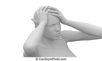 Migraine head pian concept with pulsating pain - 3D concept