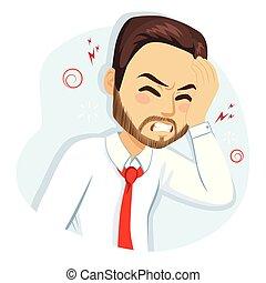 Migraine Headache Hangover Business Man - Business man ...