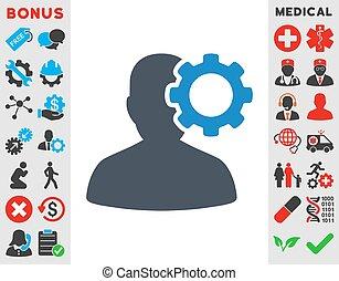 Migraine Icon - Migraine vector icon. Style is bicolor flat ...