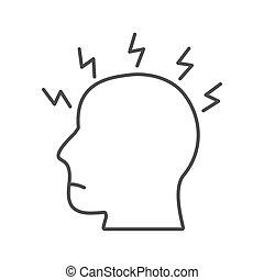 Migraine linear icon. Human head with lightning bolt flu ...