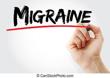 migraine, marqueur, écriture main