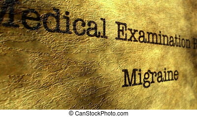 Migraine medical report