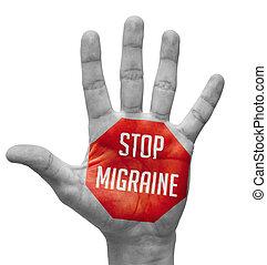 migraine, ouvert, main., concept, arrêt