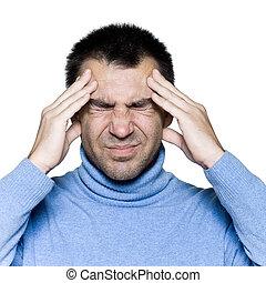 migraine, portrait, homme, mal tête