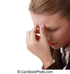migraine, sévère, femme, mal tête