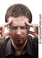 migraine, souffrance, mal tête, ou, homme