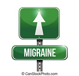 migraine street sign illustration design