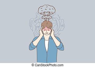 Migraine, stress, headache concept