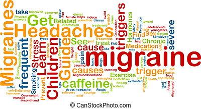 Migraine word cloud - Word cloud concept illustration of...