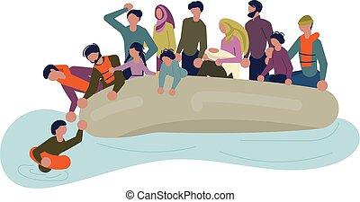 migrant, barco, gente