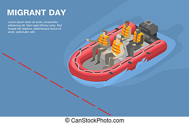 Migrant day concept background, isometric style