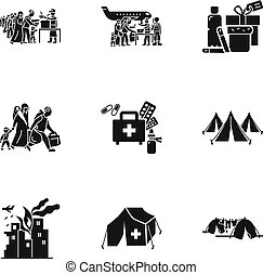 Migrant refugee icon set. Simple set of 9 migrant refugee vector icons for web design isolated on white background