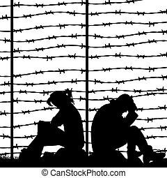 Migrant refugees behind barbed wire, silhouette of a pair of sad people sitting on the ground (man and woman), on a white background,