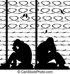 Migrant refugees behind barbed wire, silhouette of two sad men sitting on the ground, on a white background,