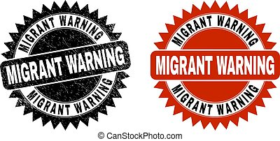 Black rosette MIGRANT WARNING seal. Flat vector scratched seal with MIGRANT WARNING phrase inside sharp rosette, and original clean source. Imprint with distress surface.