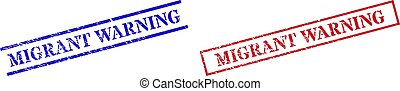 Grunge MIGRANT WARNING rubber stamps in red and blue colors. Stamps have rubber surface. Vector rubber imitations with MIGRANT WARNING caption inside rectangle frame, or parallel lines.
