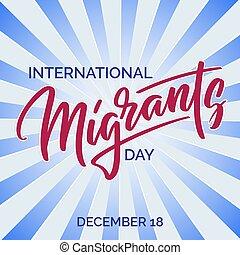 migranten, -, calligraphy., text, hand, typographie, beschriftung, welt, hand-geschrieben, tag