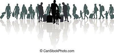 migrants, 旅行者, refugees