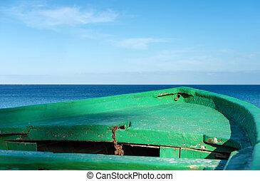 migrants, 木製である, -, 内陸 海, ボート