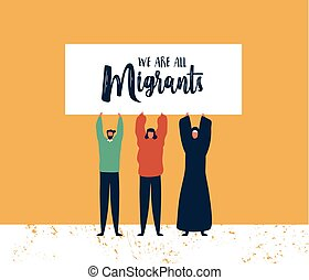 Migrants Day card of diverse friends holding sign