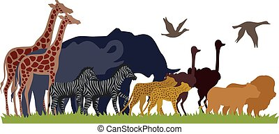 migrate, シルエット, 動物, サファリ