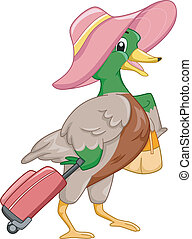 Mascot Illustration Featuring a Mallard All Geared Up for Travel