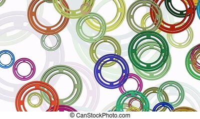 Migrating rings in various colors on white