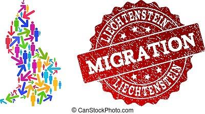 Migration Collage of Mosaic Map of Liechtenstein and Textured Seal Stamp