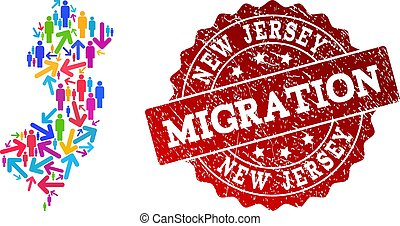 Migration Collage of Mosaic Map of New Jersey State and Scratched Seal