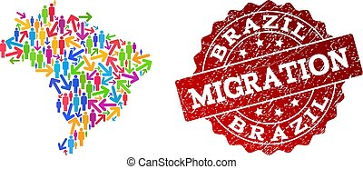 Migration Composition of Mosaic Map of Brazil and Scratched Seal Stamp
